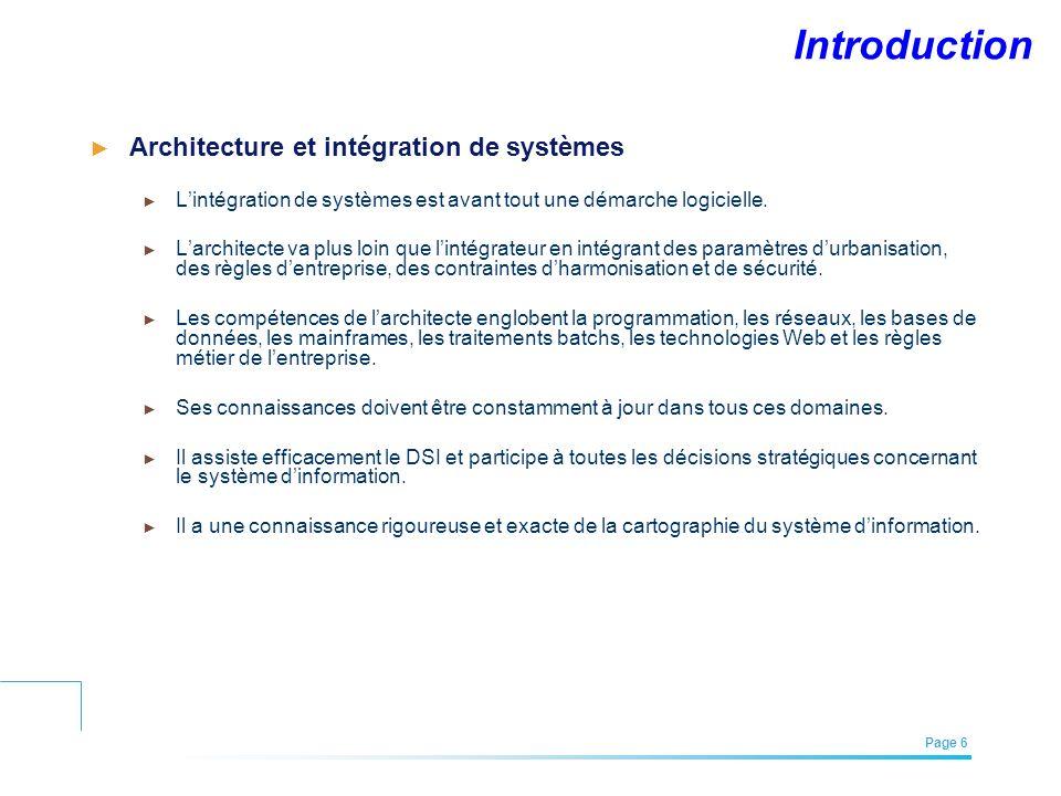 EFREI – M1A | Architecture des Systèmes d'Information | Mai – Juillet 2011| Page 6 Introduction Architecture et intégration de systèmes Lintégration d