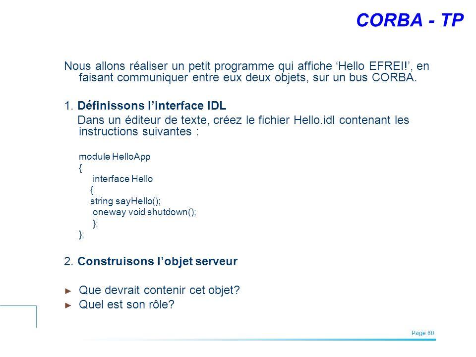 EFREI – M1A | Architecture des Systèmes d'Information | Mai – Juillet 2011| Page 60 CORBA - TP Nous allons réaliser un petit programme qui affiche Hel
