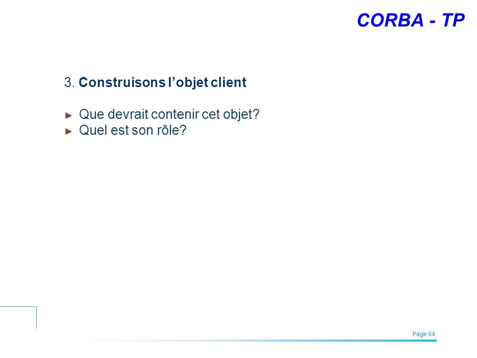 EFREI – M1A | Architecture des Systèmes d'Information | Mai – Juillet 2011| Page 64 CORBA - TP 3. Construisons lobjet client Que devrait contenir cet
