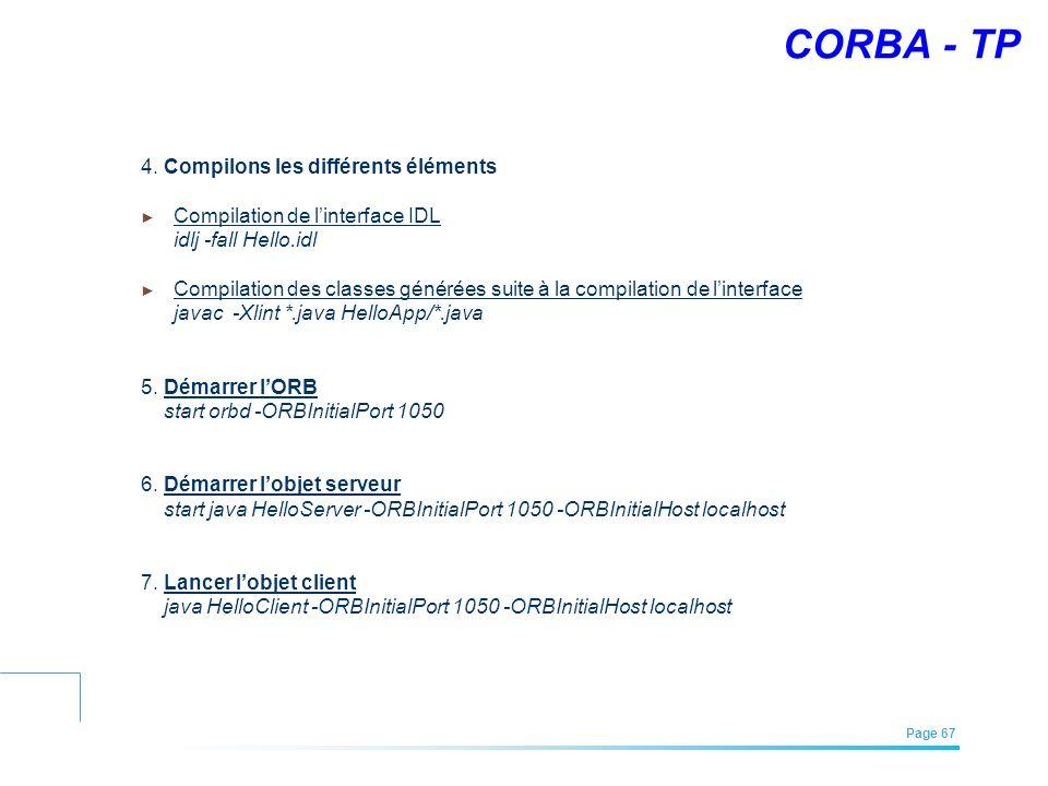 EFREI – M1A | Architecture des Systèmes d'Information | Mai – Juillet 2011| Page 67 CORBA - TP 4. Compilons les différents éléments Compilation de lin