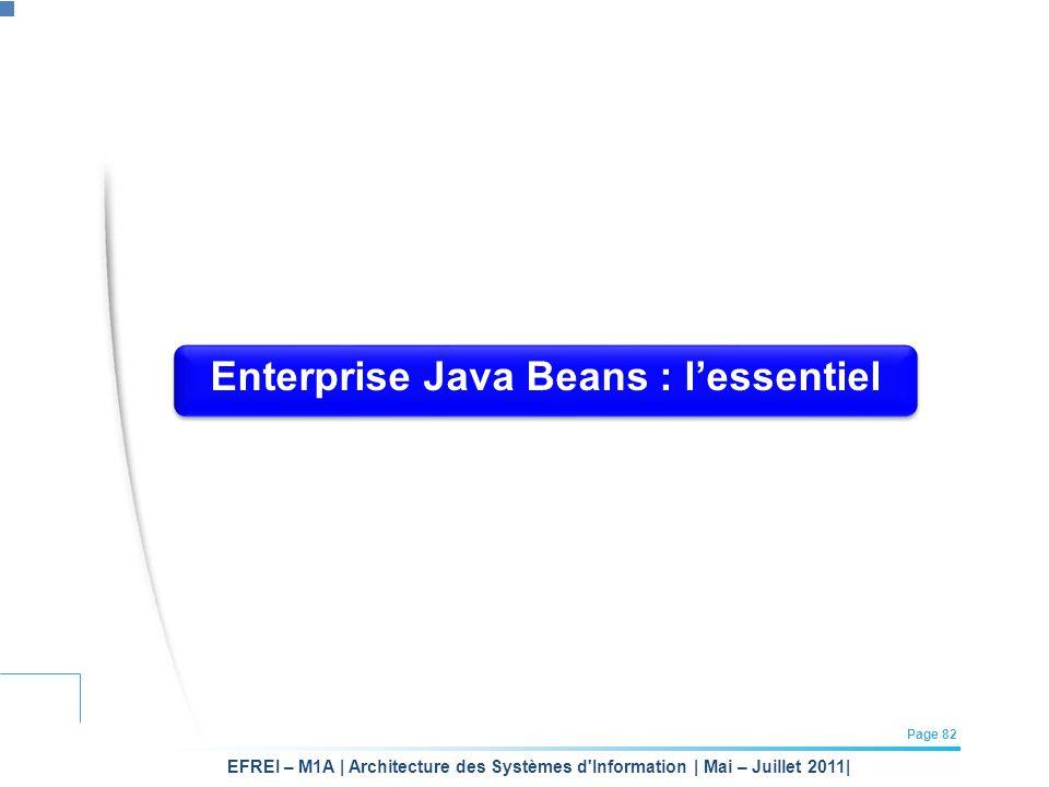EFREI – M1A | Architecture des Systèmes d'Information | Mai – Juillet 2011| Page 82 Enterprise Java Beans : lessentiel