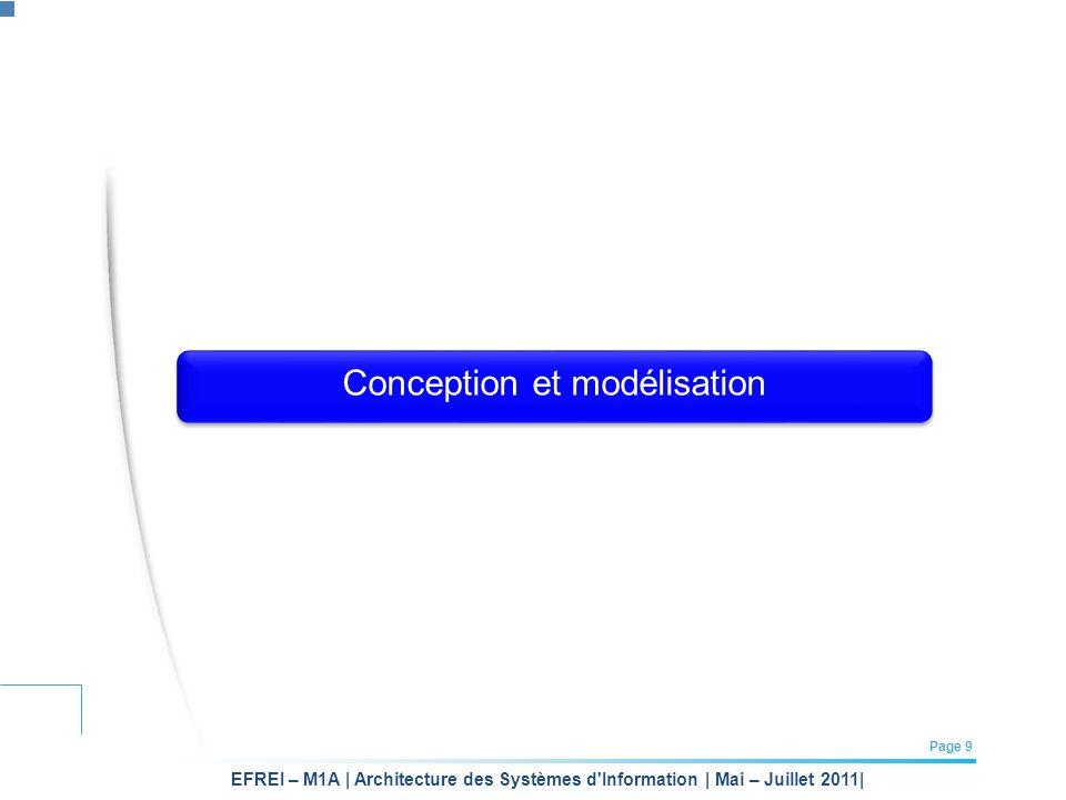 EFREI – M1A | Architecture des Systèmes d'Information | Mai – Juillet 2011| Page 9 Conception et modélisation