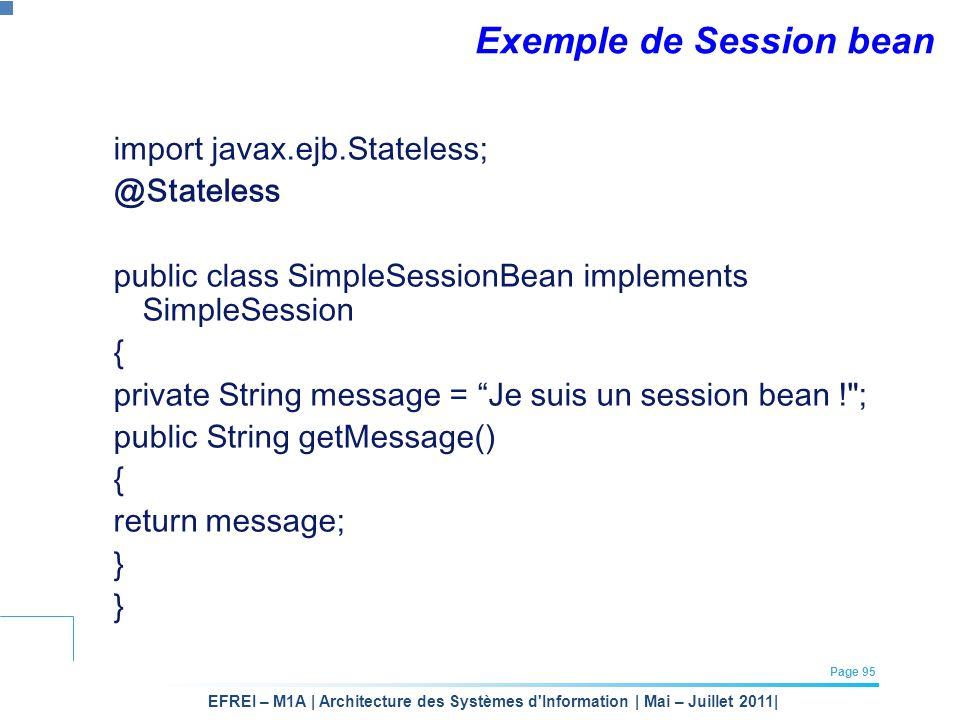 EFREI – M1A | Architecture des Systèmes d'Information | Mai – Juillet 2011| Page 95 Exemple de Session bean import javax.ejb.Stateless; @Stateless pub