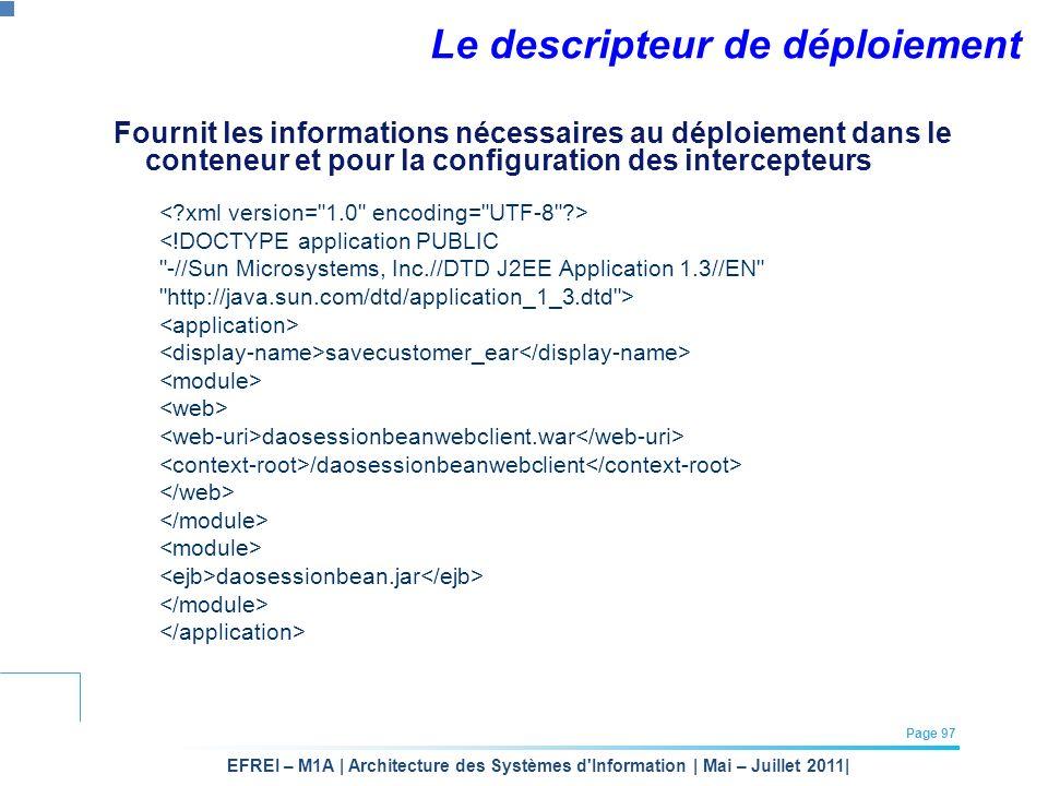 EFREI – M1A | Architecture des Systèmes d'Information | Mai – Juillet 2011| Page 97 Le descripteur de déploiement Fournit les informations nécessaires