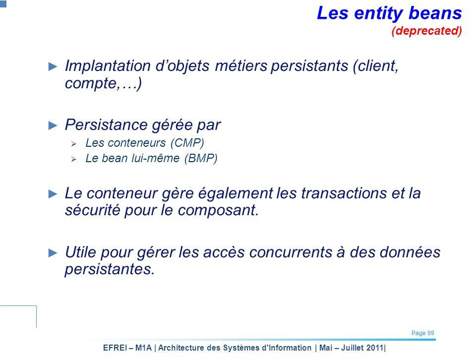 EFREI – M1A | Architecture des Systèmes d'Information | Mai – Juillet 2011| Page 99 Les entity beans (deprecated) Implantation dobjets métiers persist