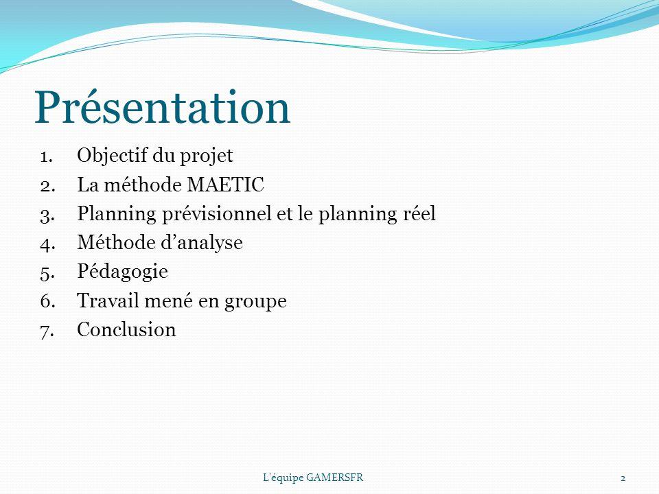 Présentation 1.Objectif du projet 2. La méthode MAETIC 3.