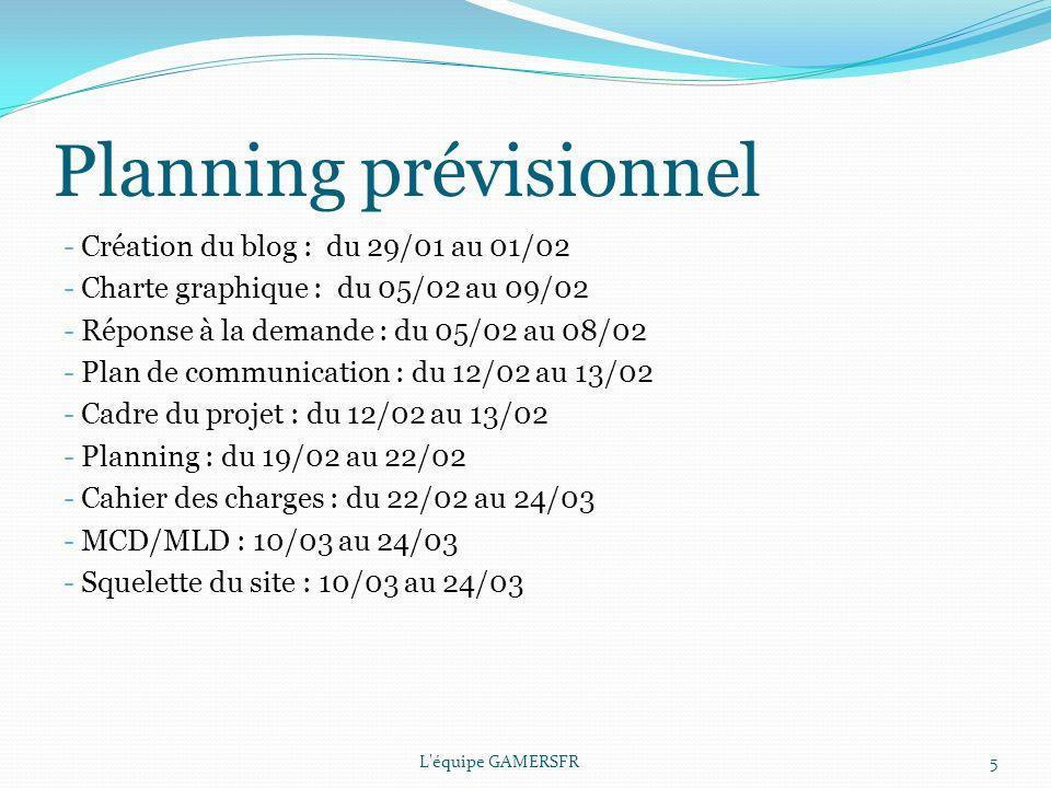 Planning prévisionnel L équipe GAMERSFR5 - Création du blog : du 29/01 au 01/02 - Charte graphique : du 05/02 au 09/02 - Réponse à la demande : du 05/02 au 08/02 - Plan de communication : du 12/02 au 13/02 - Cadre du projet : du 12/02 au 13/02 - Planning : du 19/02 au 22/02 - Cahier des charges : du 22/02 au 24/03 - MCD/MLD : 10/03 au 24/03 - Squelette du site : 10/03 au 24/03