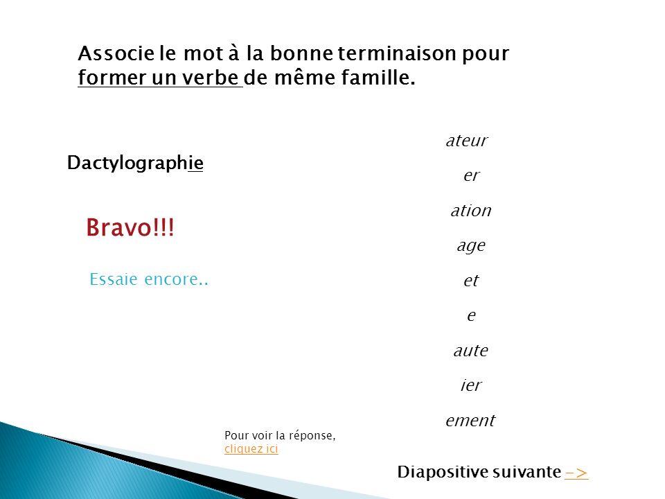 Dactylographie Associe le mot à la bonne terminaison pour former un verbe de même famille. ateur er ation age et e aute ier ement Bravo!!! Essaie enco
