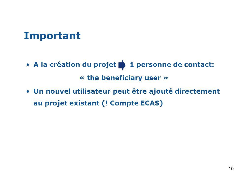 Important A la création du projet 1 personne de contact: « the beneficiary user » Un nouvel utilisateur peut être ajouté directement au projet existan
