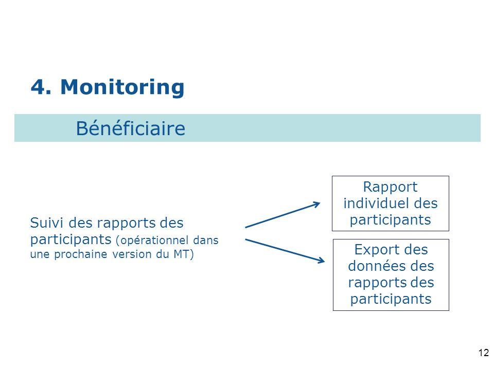 4. Monitoring Rapport individuel des participants Suivi des rapports des participants (opérationnel dans une prochaine version du MT) Bénéficiaire Exp