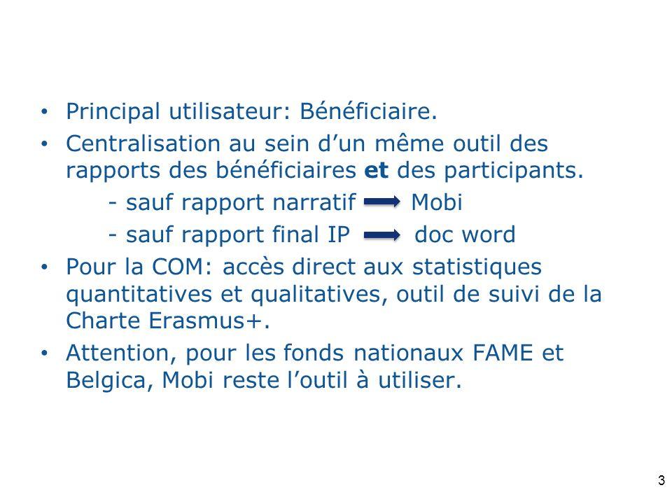 Principal utilisateur: Bénéficiaire. Centralisation au sein dun même outil des rapports des bénéficiaires et des participants. - sauf rapport narratif
