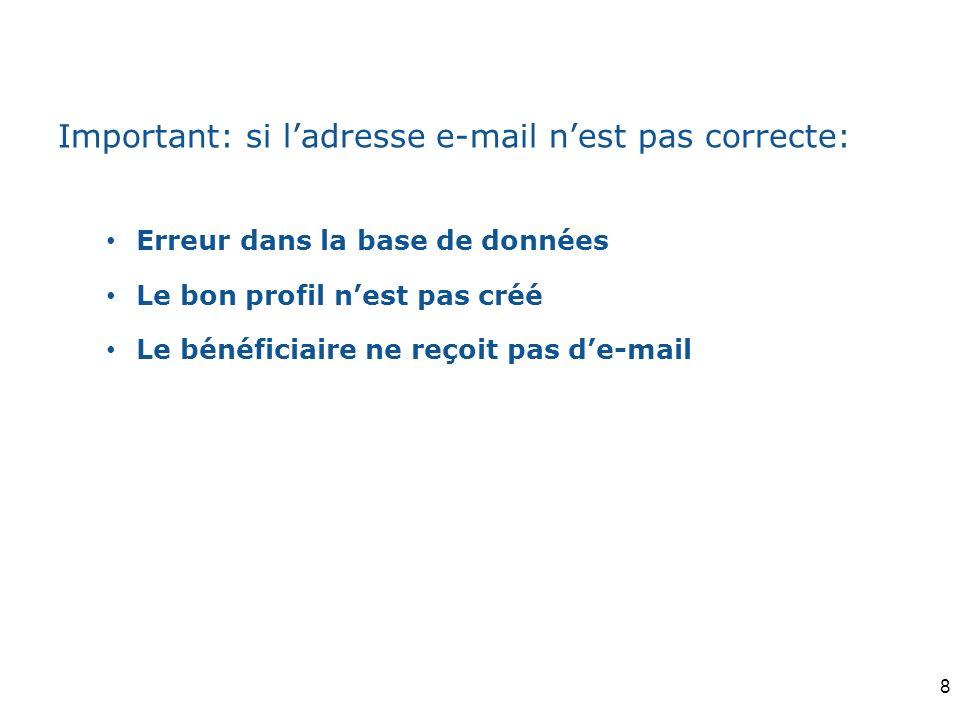 Important: si ladresse e-mail nest pas correcte: Erreur dans la base de données Le bon profil nest pas créé Le bénéficiaire ne reçoit pas de-mail 8