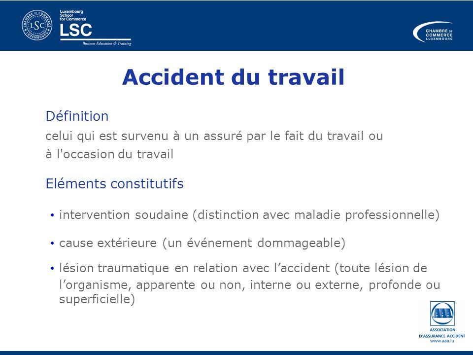 Accident du travail Définition celui qui est survenu à un assuré par le fait du travail ou à l'occasion du travail Eléments constitutifs intervention