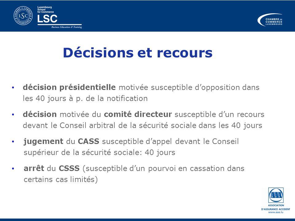 Décisions et recours décision présidentielle motivée susceptible dopposition dans les 40 jours à p. de la notification décision motivée du comité dire