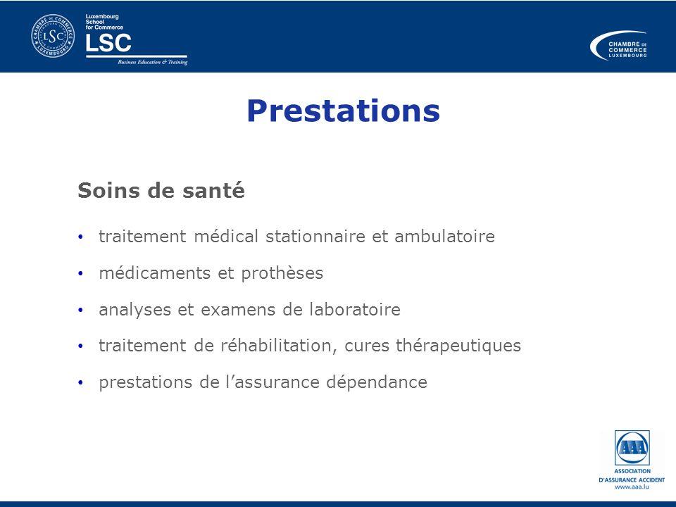 Prestations Soins de santé traitement médical stationnaire et ambulatoire médicaments et prothèses analyses et examens de laboratoire traitement de ré