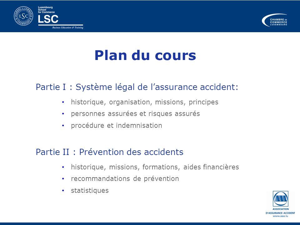 Plan du cours Partie I : Système légal de lassurance accident: historique, organisation, missions, principes personnes assurées et risques assurés pro