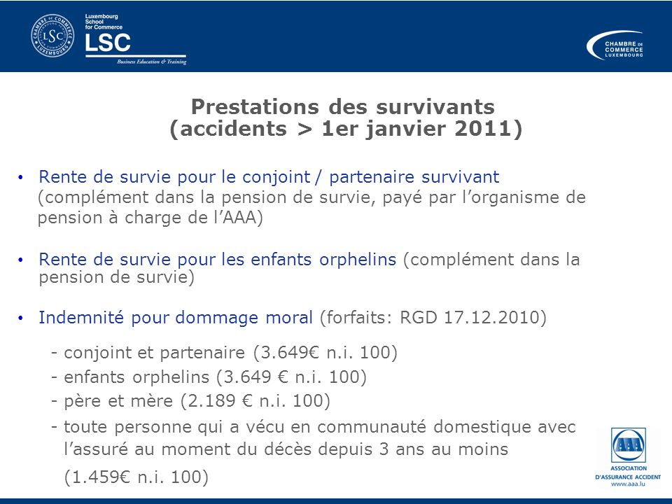 Prestations des survivants (accidents > 1er janvier 2011) Rente de survie pour le conjoint / partenaire survivant (complément dans la pension de survi