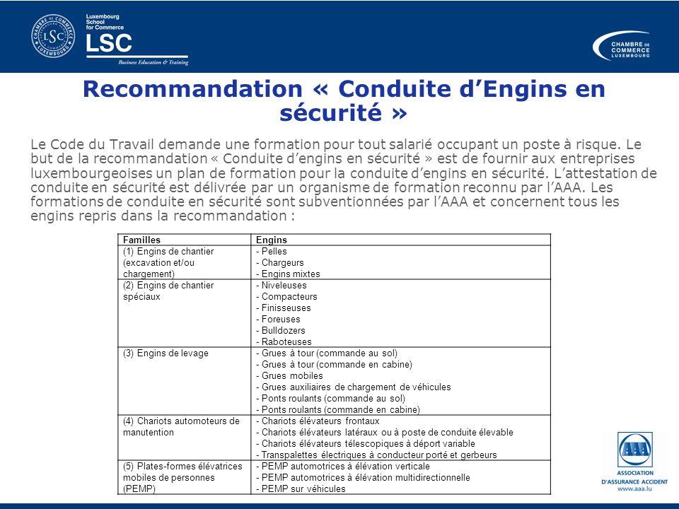 Recommandation « Conduite dEngins en sécurité » Le Code du Travail demande une formation pour tout salarié occupant un poste à risque. Le but de la re