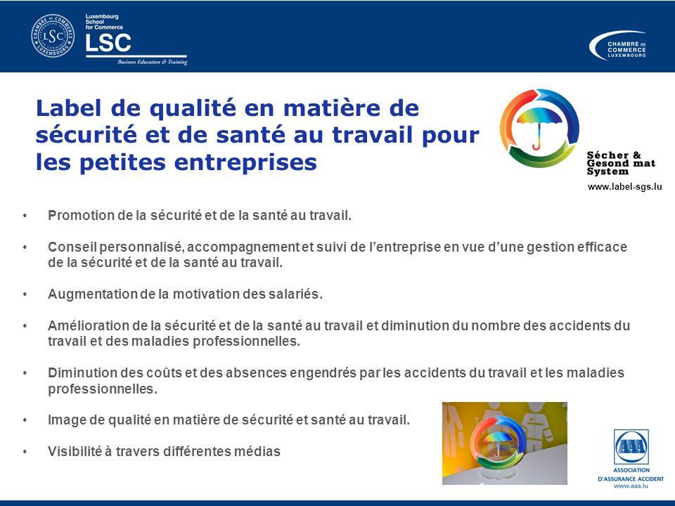 Label de qualité en matière de sécurité et de santé au travail pour les petites entreprises Promotion de la sécurité et de la santé au travail. Consei