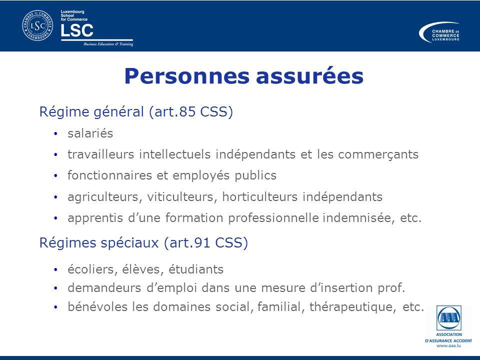 Personnes assurées Régime général (art.85 CSS) salariés travailleurs intellectuels indépendants et les commerçants fonctionnaires et employés publics