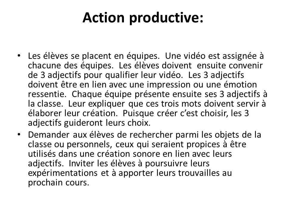 Action productive: Les élèves se placent en équipes. Une vidéo est assignée à chacune des équipes. Les élèves doivent ensuite convenir de 3 adjectifs