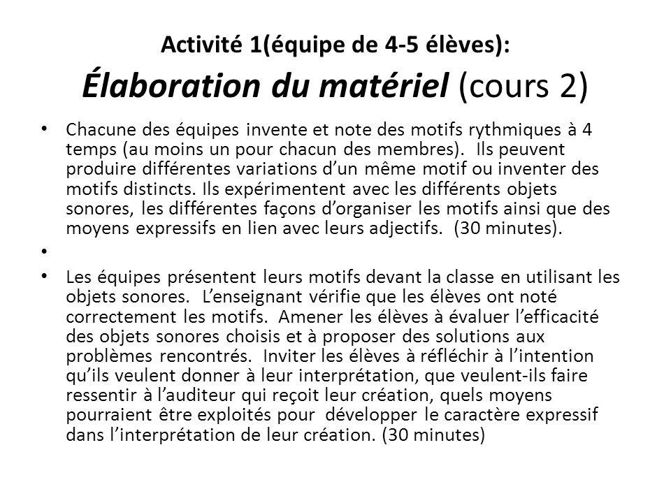 Activité 1(équipe de 4-5 élèves): Élaboration du matériel (cours 2) Chacune des équipes invente et note des motifs rythmiques à 4 temps (au moins un p