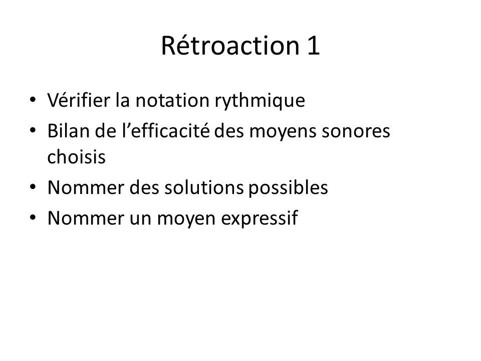 Rétroaction 1 Vérifier la notation rythmique Bilan de lefficacité des moyens sonores choisis Nommer des solutions possibles Nommer un moyen expressif