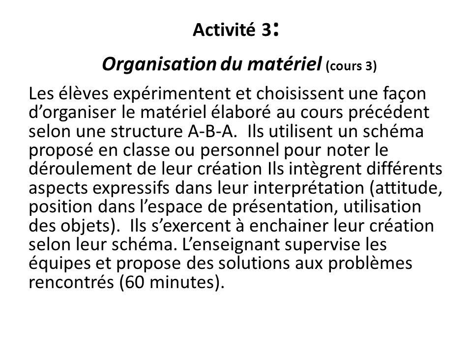 Activité 3 : Organisation du matériel (cours 3) Les élèves expérimentent et choisissent une façon dorganiser le matériel élaboré au cours précédent se