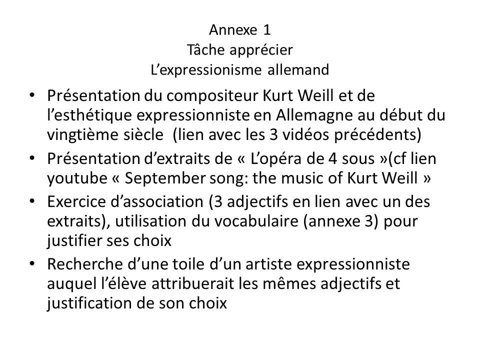 Annexe 1 Tâche apprécier Lexpressionisme allemand Présentation du compositeur Kurt Weill et de lesthétique expressionniste en Allemagne au début du vi