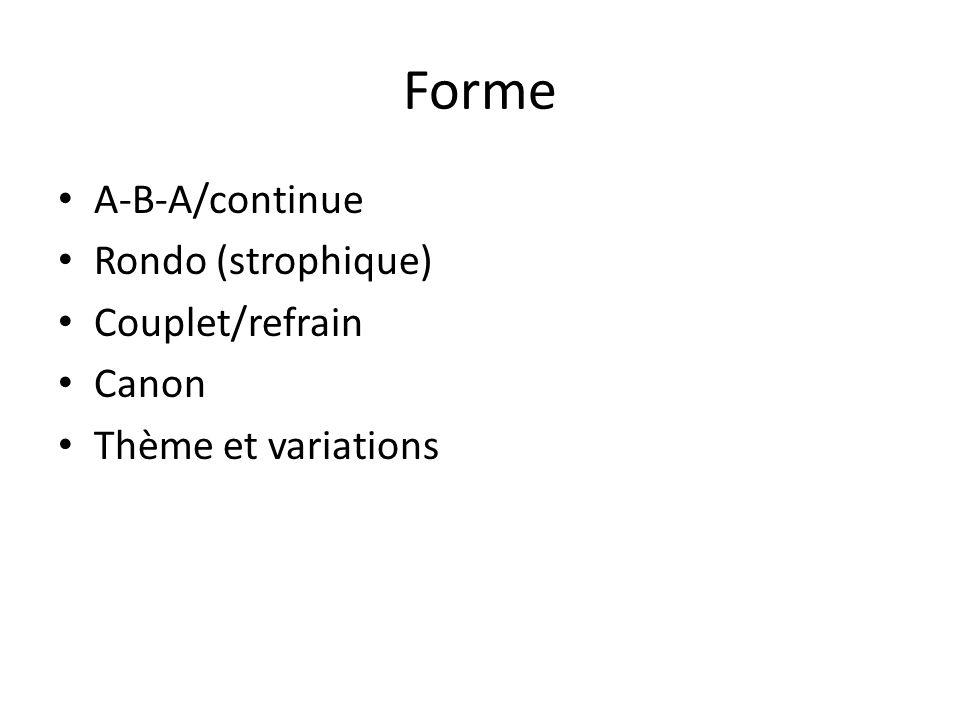 Forme A-B-A/continue Rondo (strophique) Couplet/refrain Canon Thème et variations