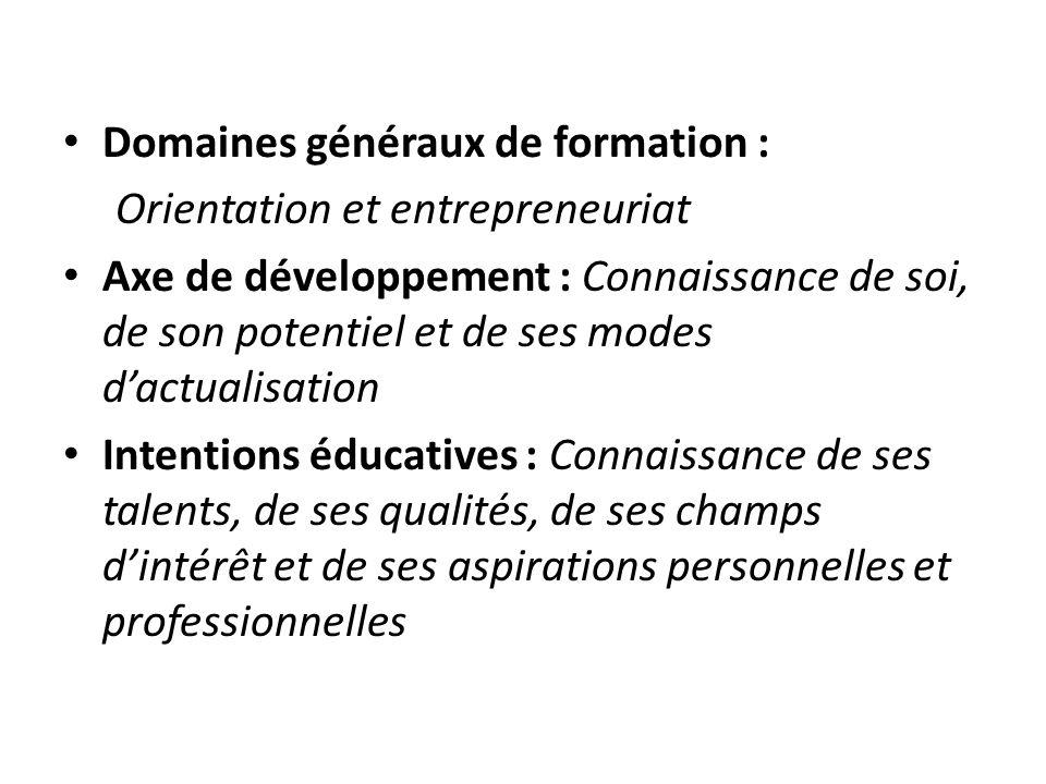 Domaines généraux de formation : Orientation et entrepreneuriat Axe de développement : Connaissance de soi, de son potentiel et de ses modes dactualis