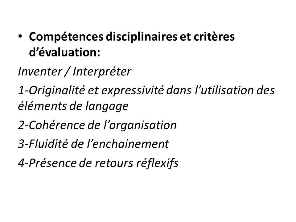 Compétences disciplinaires et critères dévaluation: Inventer / Interpréter 1-Originalité et expressivité dans lutilisation des éléments de langage 2-C