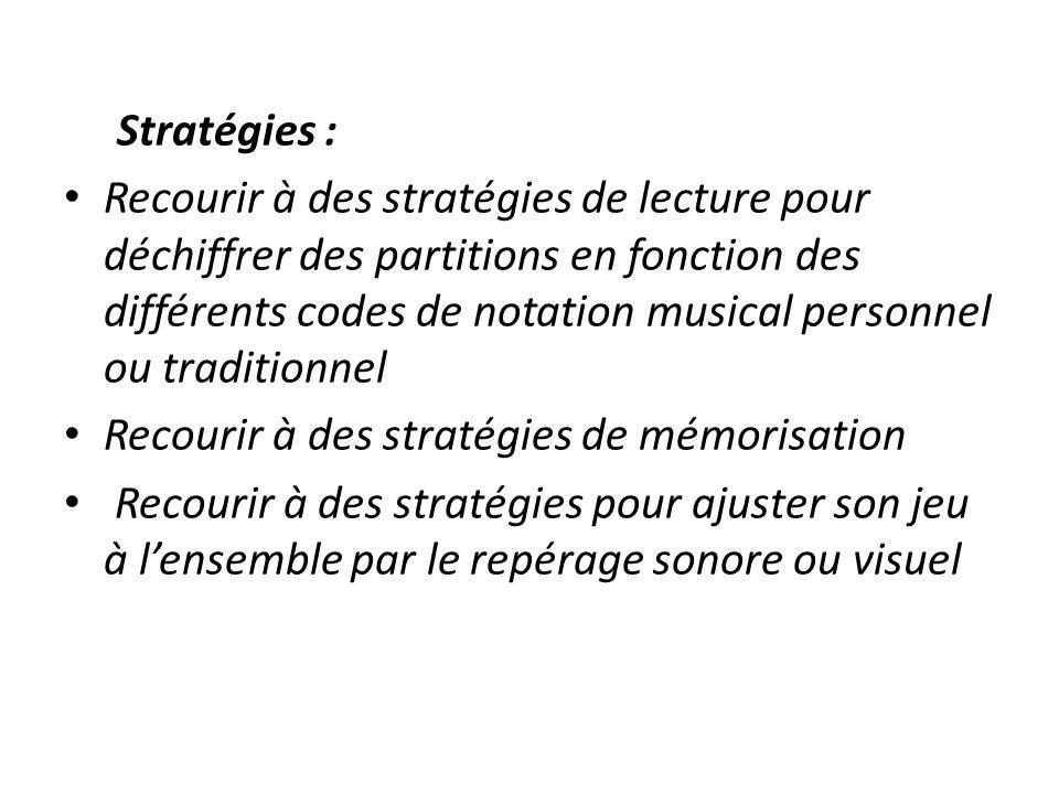 Stratégies : Recourir à des stratégies de lecture pour déchiffrer des partitions en fonction des différents codes de notation musical personnel ou tra