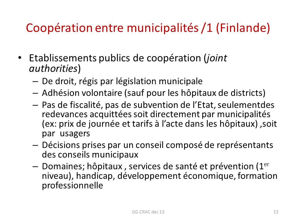 Coopération entre municipalités /1 (Finlande) Etablissements publics de coopération (joint authorities) – De droit, régis par législation municipale –
