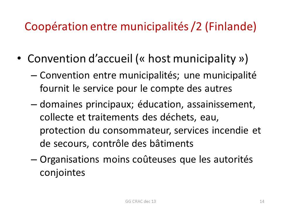 Coopération entre municipalités /2 (Finlande) Convention daccueil (« host municipality ») – Convention entre municipalités; une municipalité fournit l