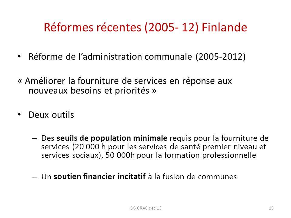 Réformes récentes (2005- 12) Finlande Réforme de ladministration communale (2005-2012) « Améliorer la fourniture de services en réponse aux nouveaux b