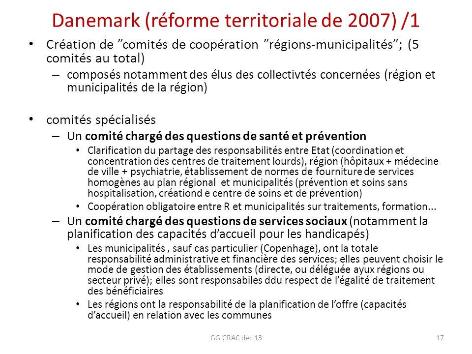 Danemark (réforme territoriale de 2007) /1 Création de comités de coopération régions-municipalités; (5 comités au total) – composés notamment des élu