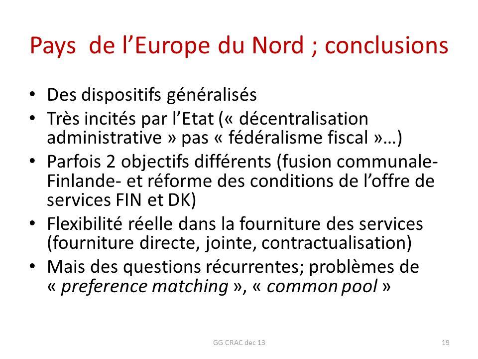 Pays de lEurope du Nord ; conclusions Des dispositifs généralisés Très incités par lEtat (« décentralisation administrative » pas « fédéralisme fiscal