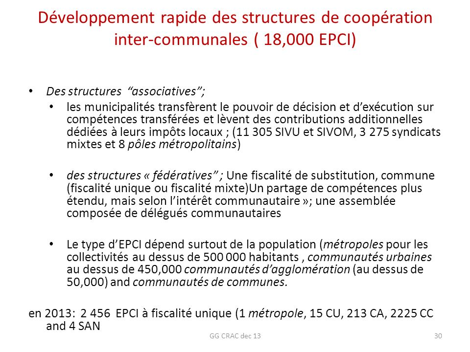 Développement rapide des structures de coopération inter-communales ( 18,000 EPCI) Des structures associatives; les municipalités transfèrent le pouvo