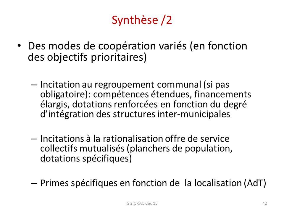 Synthèse /2 Des modes de coopération variés (en fonction des objectifs prioritaires) – Incitation au regroupement communal (si pas obligatoire): compé