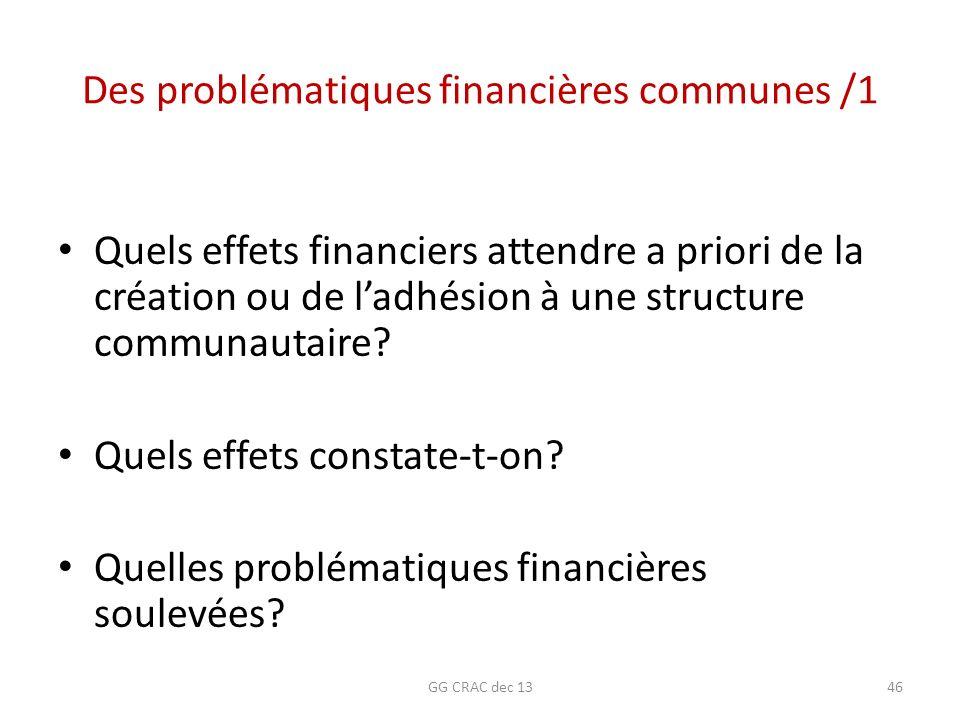 Des problématiques financières communes /1 Quels effets financiers attendre a priori de la création ou de ladhésion à une structure communautaire? Que