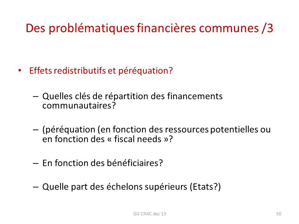 Des problématiques financières communes /3 Effets redistributifs et péréquation? – Quelles clés de répartition des financements communautaires? – (pér