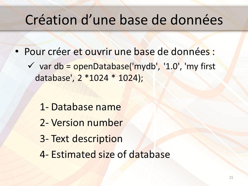 Création dune base de données Pour créer et ouvrir une base de données : var db = openDatabase('mydb', '1.0', 'my first database', 2 *1024 * 1024); 1-