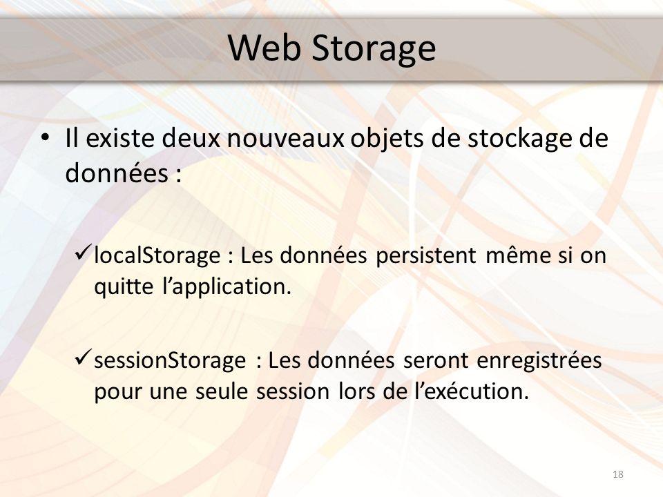 Web Storage Il existe deux nouveaux objets de stockage de données : localStorage : Les données persistent même si on quitte lapplication. sessionStora