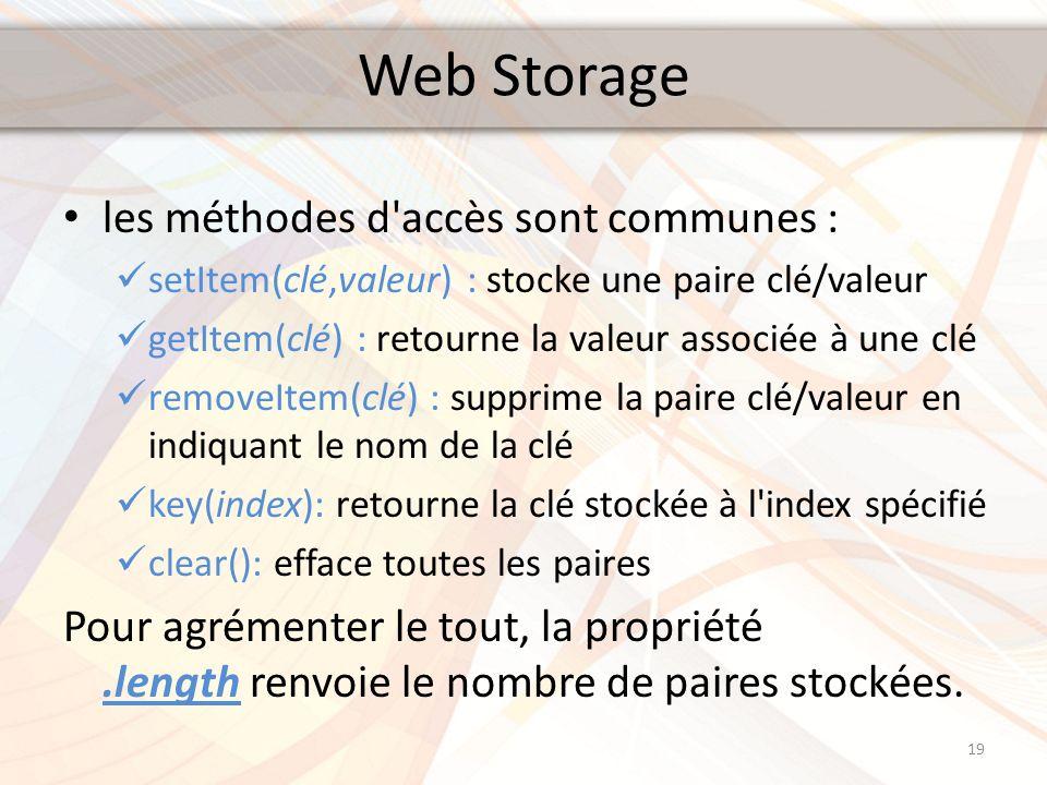 Web Storage les méthodes d'accès sont communes : setItem(clé,valeur) : stocke une paire clé/valeur getItem(clé) : retourne la valeur associée à une cl