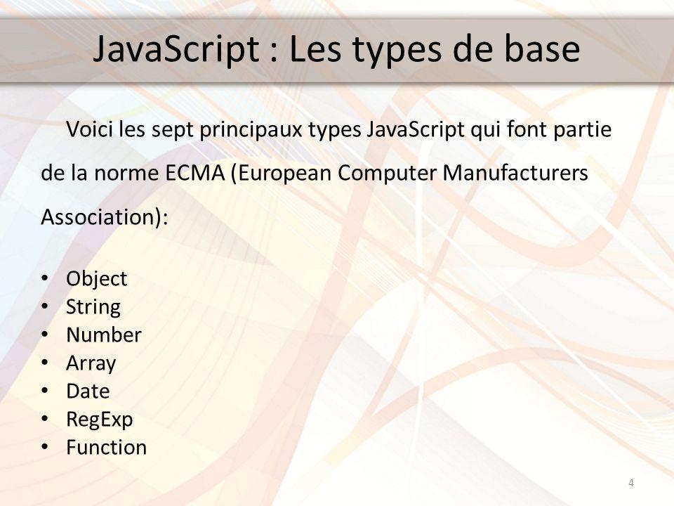 JavaScript : Les types de base Voici les sept principaux types JavaScript qui font partie de la norme ECMA (European Computer Manufacturers Associatio