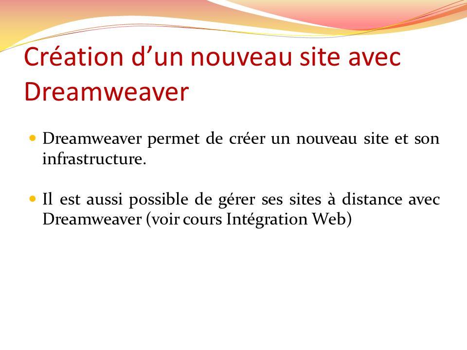 Création dun nouveau site avec Dreamweaver Dreamweaver permet de créer un nouveau site et son infrastructure.