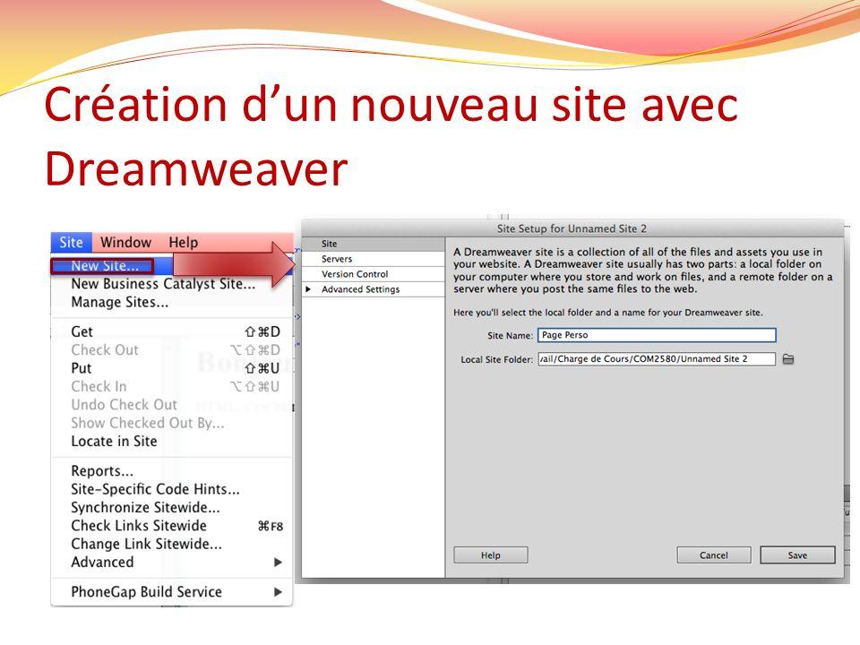 Création dun nouveau site avec Dreamweaver