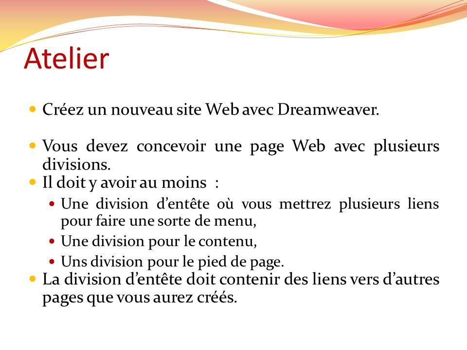 Créez un nouveau site Web avec Dreamweaver.