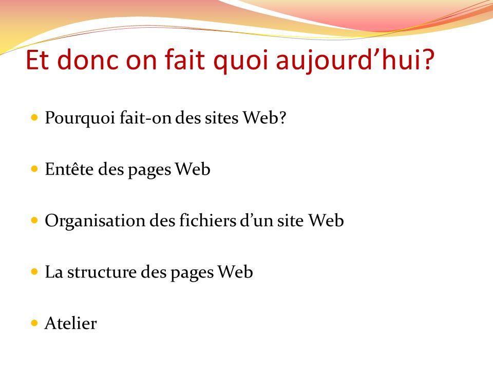 Et donc on fait quoi aujourdhui. Pourquoi fait-on des sites Web.